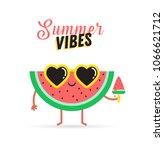 sweet summer   cute watermelon... | Shutterstock .eps vector #1066621712