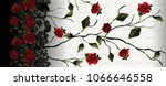 Stock photo ivy roses with lace pattern 1066646558