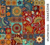 seamless vector patchwork tile... | Shutterstock .eps vector #1066652048