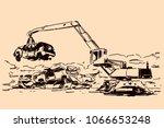 Scrapyard Crane Moving Crushed...