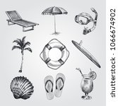 hand drawn summer set sketches. ... | Shutterstock .eps vector #1066674902