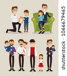 best father with daughter and... | Shutterstock .eps vector #1066679465