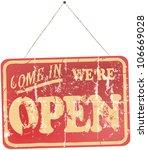 vintage  worn open sign hanging ... | Shutterstock .eps vector #106669028