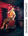 attractive slim brunette posing ...   Shutterstock . vector #1066701632