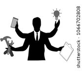 man s silhouette with many... | Shutterstock .eps vector #1066702808