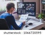entrepreneur reading financial... | Shutterstock . vector #1066720595