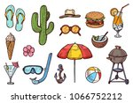 summer objects hand drawn... | Shutterstock .eps vector #1066752212