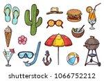 summer objects hand drawn... | Shutterstock .eps vector #1066752212