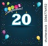 feliz cumpleanos 20   happy... | Shutterstock .eps vector #1066776452