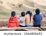 four latin kids sitting on the... | Shutterstock . vector #1066800692