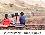 four latin kids sitting on the... | Shutterstock . vector #1066800695