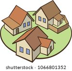 graphic art   village vector... | Shutterstock .eps vector #1066801352