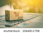 online shopping   ecommerce and ... | Shutterstock . vector #1066811708