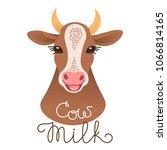 cute cow portrait. cow milk...   Shutterstock .eps vector #1066814165