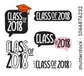 class of 2018. set of hand... | Shutterstock .eps vector #1066876232