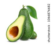 isolated avocado. whole avocado ... | Shutterstock . vector #1066876682