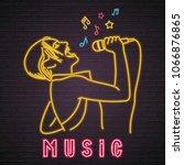 singer woman neon light glowing ... | Shutterstock .eps vector #1066876865