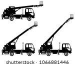 silhouette of aerial platform... | Shutterstock .eps vector #1066881446