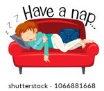 a young man having a nap on... | Shutterstock .eps vector #1066881668