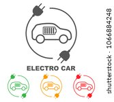 icons of electric cars  vector. ... | Shutterstock .eps vector #1066884248