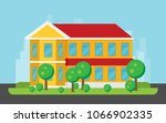 flat residential house. vector...   Shutterstock .eps vector #1066902335