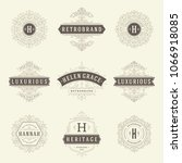 luxury logos templates set ... | Shutterstock .eps vector #1066918085