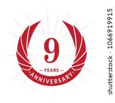 9 years anniversary. elegant... | Shutterstock .eps vector #1066919915