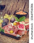 italian antipasti plate with... | Shutterstock . vector #1066956086