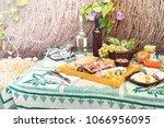 italian antipasti plate with... | Shutterstock . vector #1066956095
