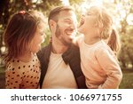 portrait of single father with... | Shutterstock . vector #1066971755
