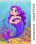 cute cartoon little mermaid... | Shutterstock .eps vector #1066975532