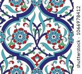 iznik tile seamless pattern... | Shutterstock .eps vector #1066978412