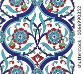 iznik tile seamless pattern...   Shutterstock . vector #1066990352