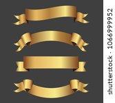 set of golden ribbons vector.   Shutterstock .eps vector #1066999952