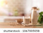 reptientes with soy milk and... | Shutterstock . vector #1067005058
