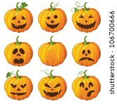 halloween set with pumpkins | Shutterstock .eps vector #106700666