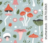 seamless pattern with whimsical ... | Shutterstock .eps vector #1067013065