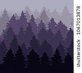 fog firry forest landscape. fir ... | Shutterstock .eps vector #1067013878