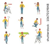 flat vector set of painters... | Shutterstock .eps vector #1067019848