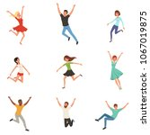 flat vector set with jumping... | Shutterstock .eps vector #1067019875