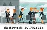 office space with working... | Shutterstock .eps vector #1067025815