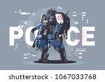 police drone robot. patrol cop... | Shutterstock .eps vector #1067033768