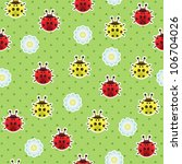 ladybugs seamless pattern | Shutterstock .eps vector #106704026