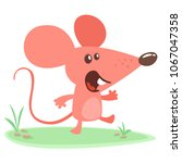 cute cartoon mouse dancing on... | Shutterstock .eps vector #1067047358