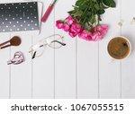 feminine accessories and pink...   Shutterstock . vector #1067055515