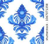 damask hand drawn floral design.... | Shutterstock . vector #1067071358