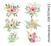 beautiful floral set. colorful... | Shutterstock . vector #1067074415