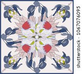 colorful silk scarf with... | Shutterstock .eps vector #1067076095