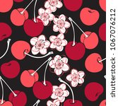 seamless pattern with cherry... | Shutterstock .eps vector #1067076212