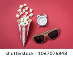 flat lay of popcorn with ice...   Shutterstock . vector #1067076848